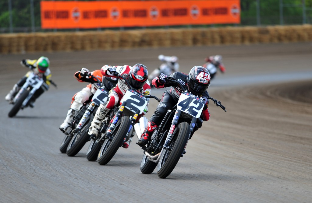 Bryan Smith, of Flint, Mich., won the AMA Grand National in Springfield, Illinois, Sunday. Here Smith, riding a Kawasaki, leads Harley-Davidson mounted Kenny Coolbeth, Jr. (No. 2), of Morris, Conn., and Jared Mees (No. 9), of Clio, Mich., coming out of turn four on the Springfield Mile at the Illinois State Fairgrounds. Coolbeth and Mees finished second and third respectively. The AMA Grand National Championship comes to Cal Expo on July 26, 2014. Smith is a three-time winner on the Sacramento Mile. (Photo by Larry Lawrence)
