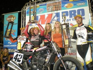 Bryan Smith said this was the toughest one yet, but in spite of enduring relentless pressure all the way to the finish, Smith, 31, of Flint, Michigan, managed to win a record fourth consecutive Sacramento Mile on his Villa-Esparza/Crosley Radio Kawasaki. (Larry Lawrence photo)
