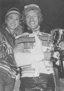 Jay Springsteen was all smiles after breaking the 29-race win record set by Kenny Roberts. Springsteen was the first rider in AMA Grand National history to reach the 30-win mark.  Even today Springsteen is ranked third on the all-time wins list behind only Scott Parker and Chris Carr.